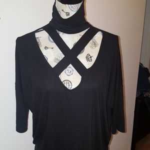 EXPRESS black choker neck open ctoss from v neck